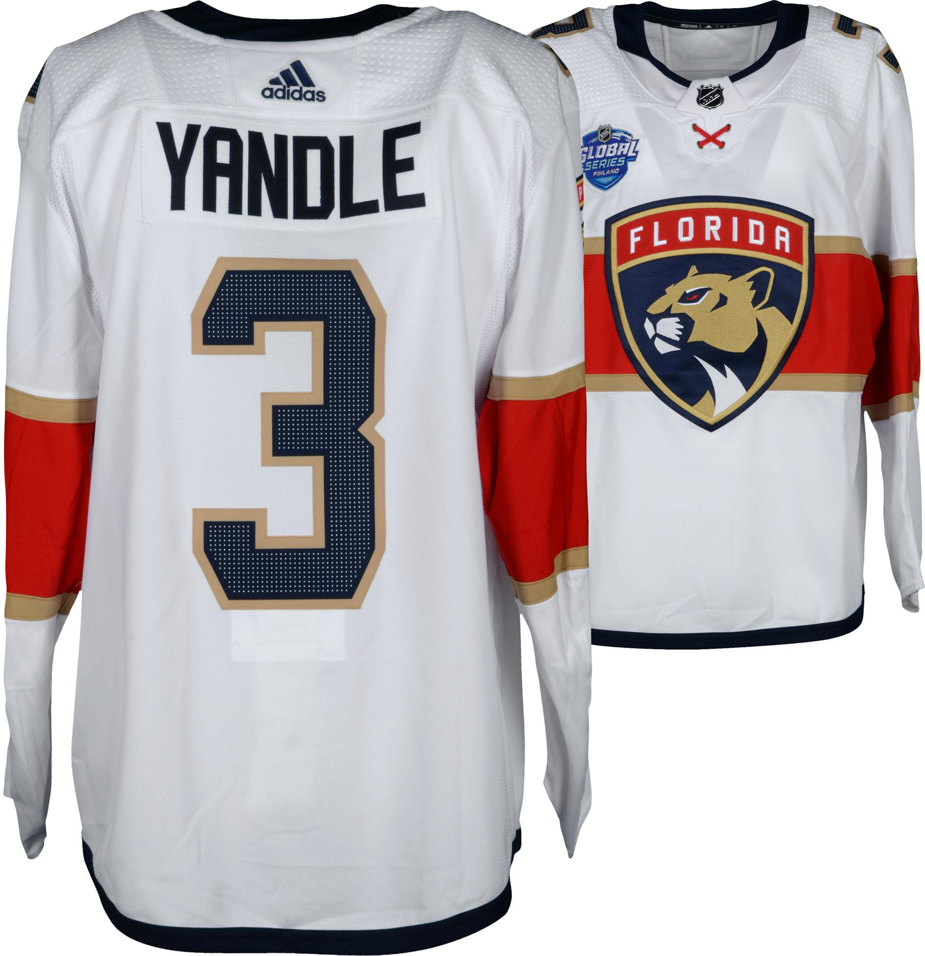 info for 3cc1a 65454 Keith Yandle Florida Panthers Game-Used #3 White Jersey from the 2018 NHL  Global Series Game vs. Winnipeg Jets on November 2, 2018 - Size 56 - ...