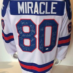 1980 USA Miracle hockey team signed jersey 20 auto Jim Craig Mike Eruzione JSA