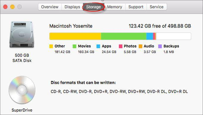 About this Mac Storage
