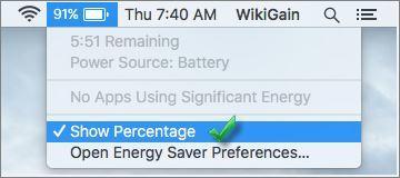 Show Mac Bettry Percentage