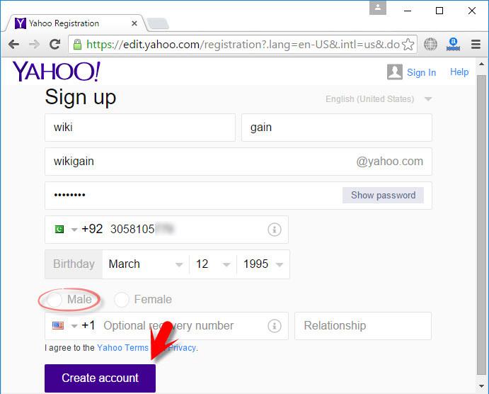 how to create a yahoo ca account