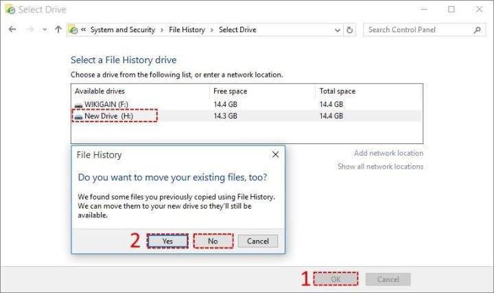 Change File History Backup Disk