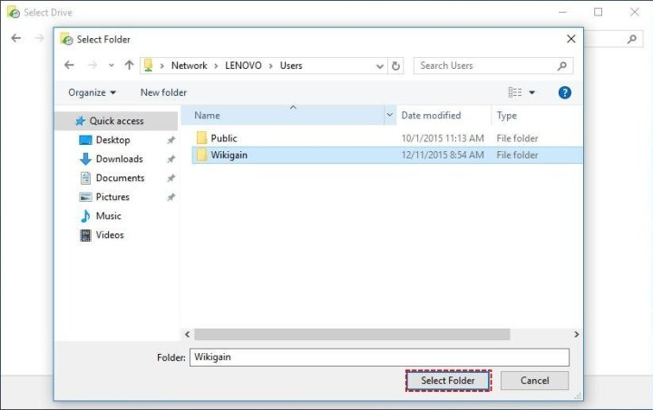 Select folder to add a netwok location