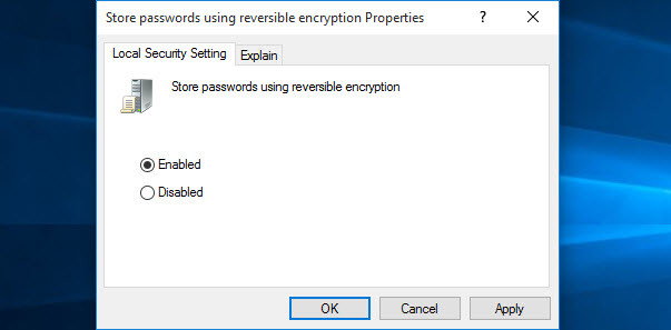 Store Passwords Using Reversible Encryption