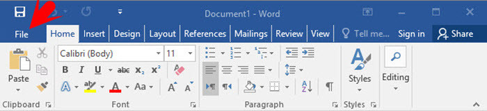 Working with File Tab in Word 2016 Part 1 - wikigain