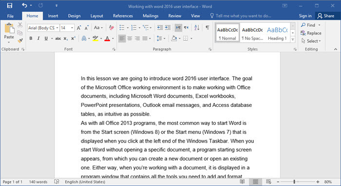 Working with Word 2016 User Interface - wikigain