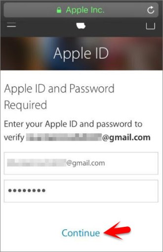 Enter Apple ID and Password