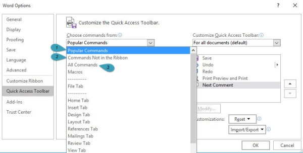 Word 2016 Quick Access Toolbar Customization