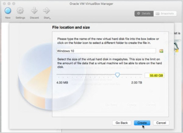 Choose File Location and Disk Size