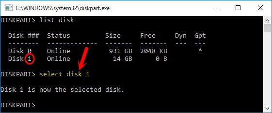 Select Disk X