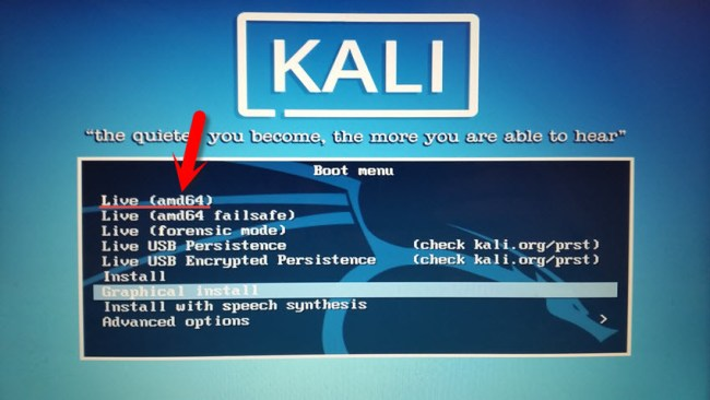 Use Kali Linux Live on Mac OS