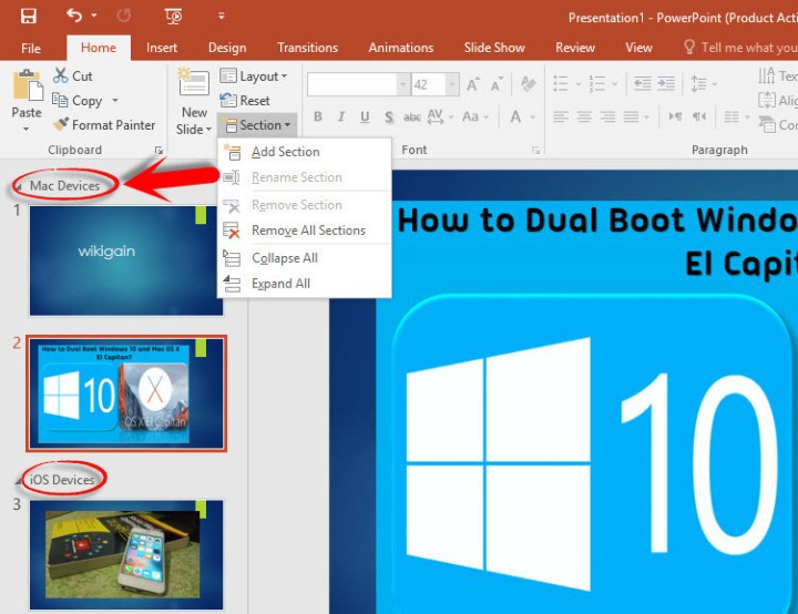 PowerPoint 2016 Slide Group