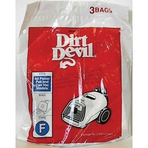 "Royal Dirt Devil ""F"" Canister Vac BAGS-3pkg"