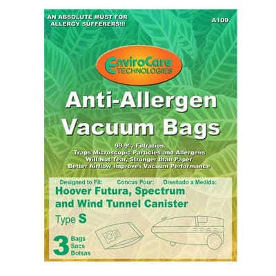 "EnviroCare HOOVER ""S"" Allergen BAGS - 3pkg"