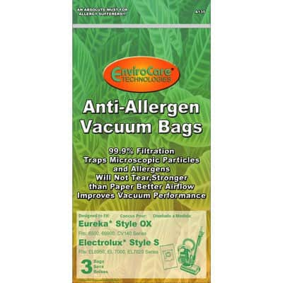 "Electrolux ""S"" & Eureka ""OX"" Allergen Cloth Disposable Bags"