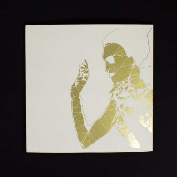 The polygonal foil-stamped cover of the book is based on original artwork by visual artist Peregrine honig.