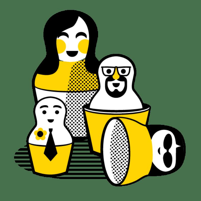 AHA Yellow Babushka Dolls