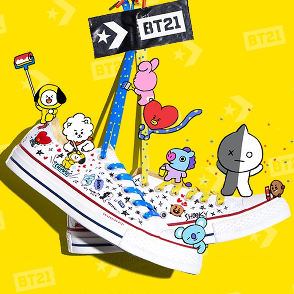 Converse x BT21 Low Top Black By BTS Korea Men Shoe Sneaker