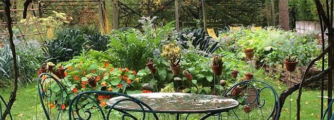 Petite table ronde sous la tonnelle aux roses du potager