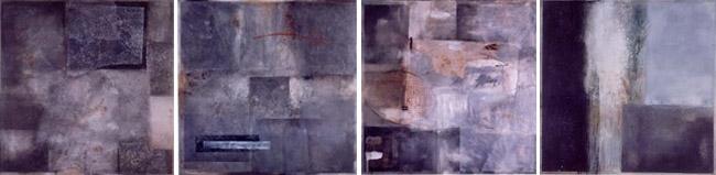 Composition de 4 peintures sur bois carrées de 90 x 90 cm