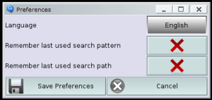 HFinder : Preferences window