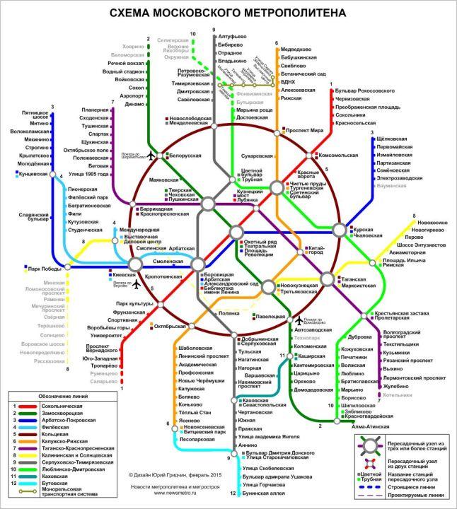 Moscou, plan du métro en russe