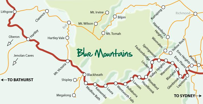 Autralie, Blue Mountains, carte