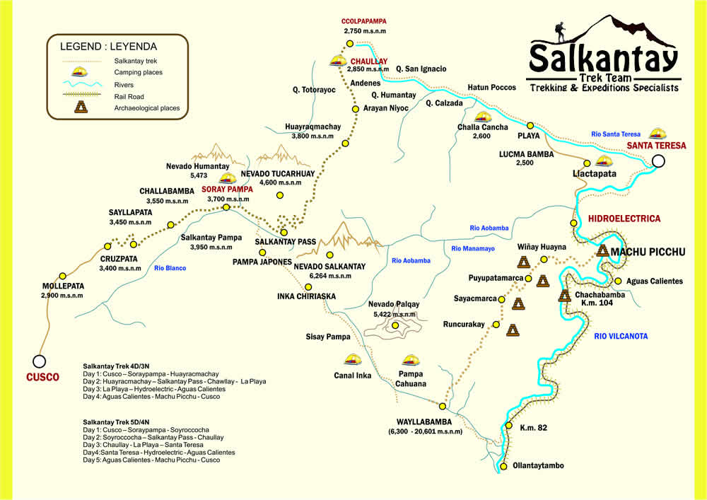 Pérou, carte du trek Salkantay