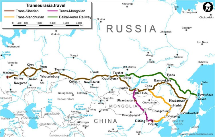 Russie, transsibérien, carte