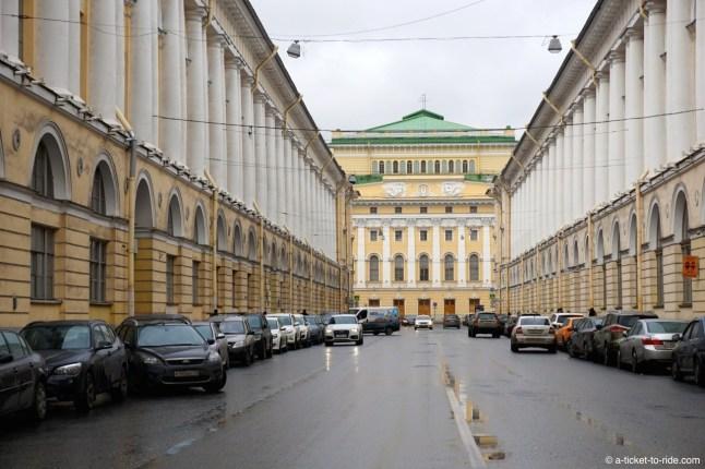 Russie, Saint-Pétersbourg, rue Rossi
