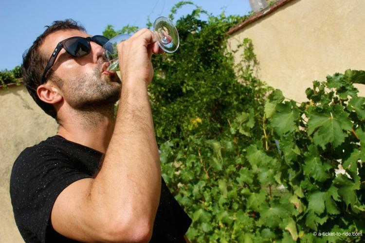 Mathieu déguste du vin de Sancerre