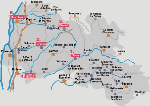 Carte itinéraire Drôme Provençale