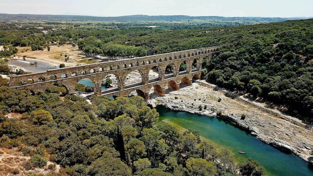 Pont du Gard, vue du ciel