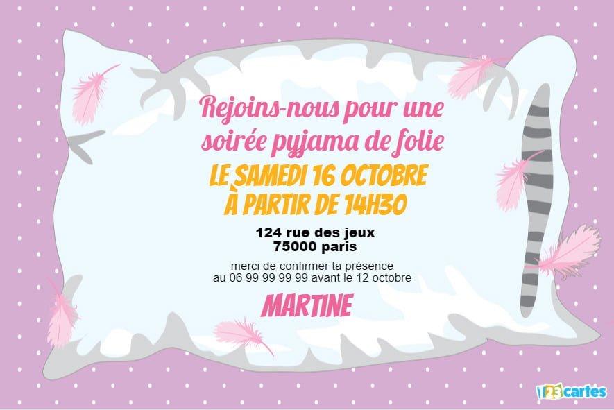 carte d invitation soiree pyjama fille