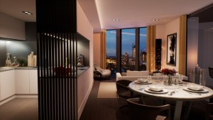 Two-bed apartment at The Madison by MAKE Architects.