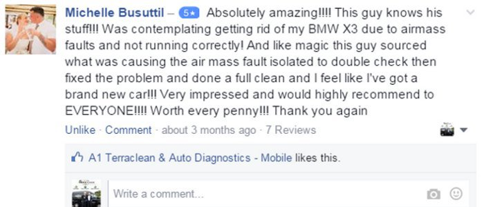 Michelle Busuttil – 5 starAbsolutely amazing!!!! This guy knows his stuff!!! Was contemplating getting rid of my BMW X3 due to airmass faults and not running correctly! And like magic this guy sourced what was causing the air mass fault isolated to double check then fixed the problem and done a full clean and I feel like I've got a brand new car!!! Very impressed and would highly recommend to EVERYONE!!!! Worth every penny!!! Thank you again