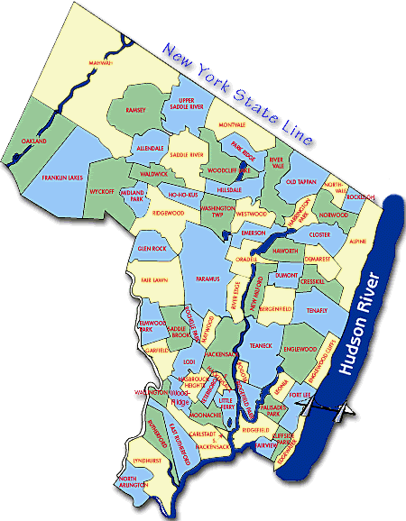 Bergen County NJ Map