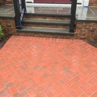red brick walkway installation
