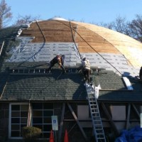 rebuilding a round roof on a church