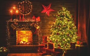 fireplace in the living room during holidays