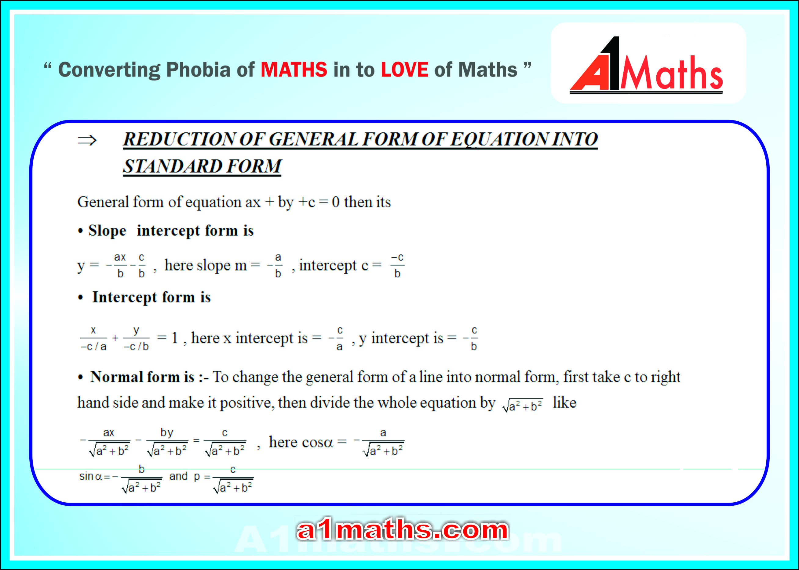 General Form Equation Of A Line