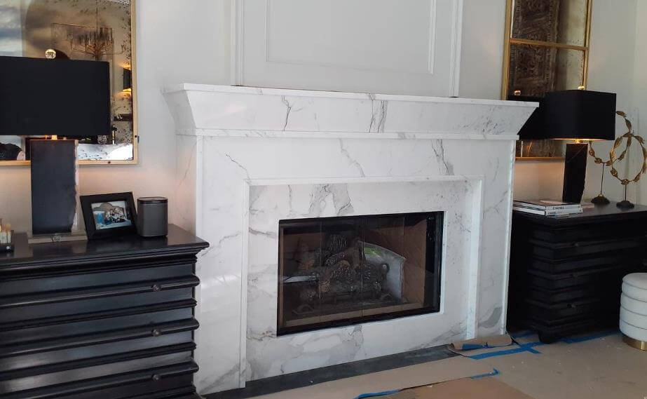 Fireplace fabricated from remnants left from kitchen remodel
