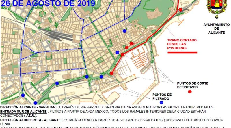 La llegada de la tercera etapa de la Vuelta Ciclista a España obliga a cortar al tráfico el lunes la fachada marítima de la Explanada