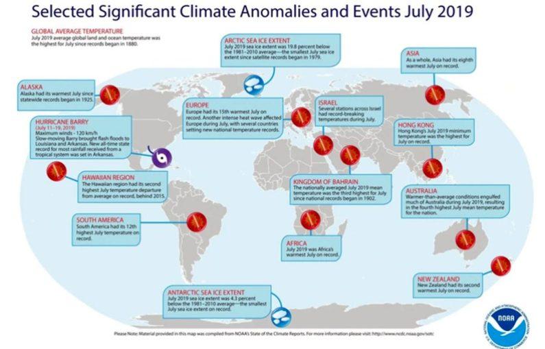 Mapa de julio de 2019 de eventos climáticos significativos a nivel mundial (Foto: @NOAA)