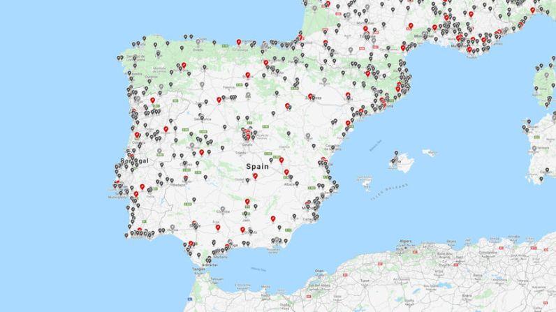 Mapa de cargadores de Tesla en España