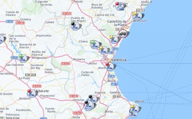 Carreteras cortadas en la Comunitat Valenciana por el temporal