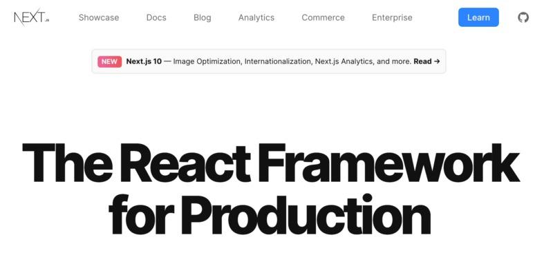 The Next.js React framework.