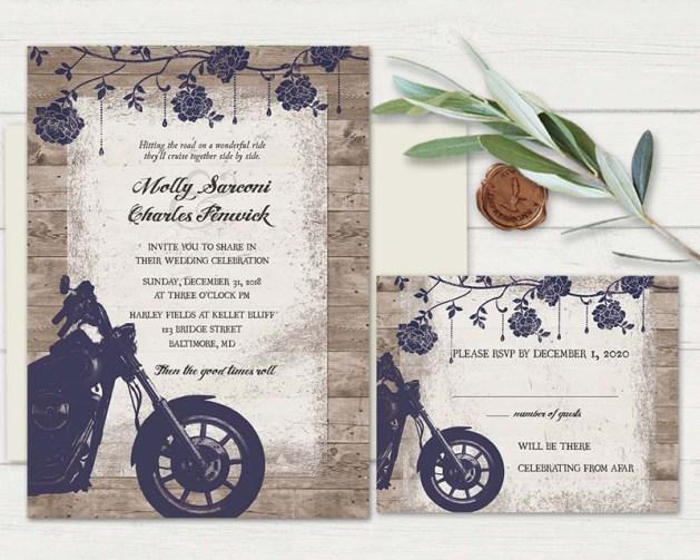 Biker theme wedding invitations