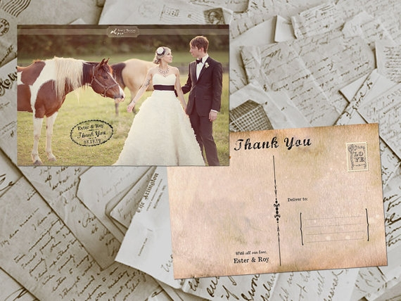 Vintage Postcard Thank You Invites