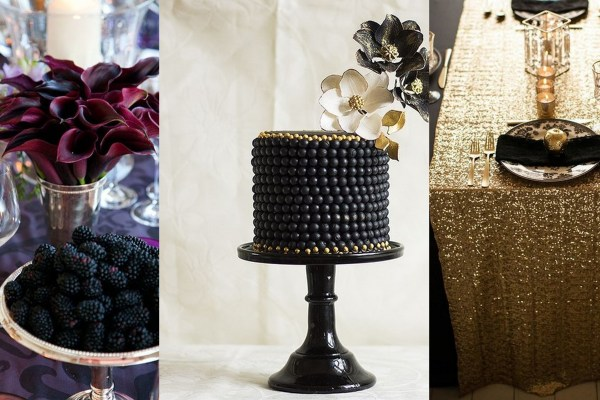 Black and gold with burgundy wedding theme - A2zweddingcards